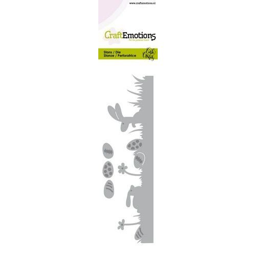 CraftEmotions 115633/0755 - CraftEmotions Die - Bunny 1 - grasrand met eieren Card 5x15cm Carla Creaties