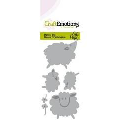 115633/0264 - CraftEmotions Die - Sheep - schapen Card 5x10cm Carla Creaties