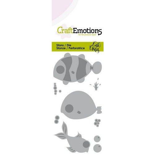CraftEmotions 115633/0267 - CraftEmotions Die - Ocean - vissen Card 5x10cm Carla Creaties