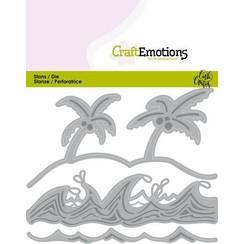 115633/0436 - CraftEmotions Die - Ocean - palmen strand golven Card 11x9cm Carla Creaties