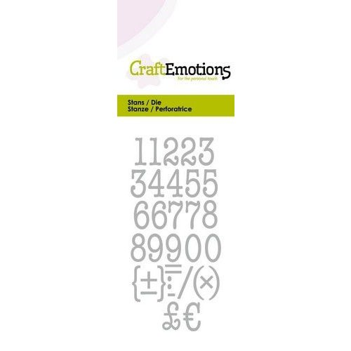 CraftEmotions 115633/0263 - CraftEmotions Die - typewriter cijfers Card 5x10cm 12mm