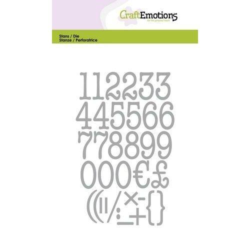 CraftEmotions 115633/0526 - CraftEmotions Die - typewriter cijfers Card 10,5x14,8cm 20mm