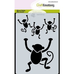 470766026 - CraftEmotions Mask stencil Jungle - aapjes A6 Carla Creaties