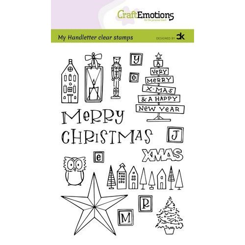 CraftEmotions CRE0380 - CraftEmotions clearstamps A6 - handletter - X-mas decorations 1 (Eng) Carla Kamphuis