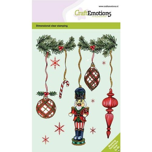 CraftEmotions CRE0373 - CraftEmotions clearstamps A6 - Kerstversiering notenkraker GB Dimensional stamp