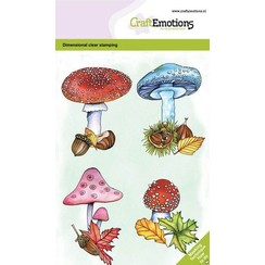 CRE0374 - CraftEmotions clearstamps A6 - Paddenstoelen GB Dimensional stamp