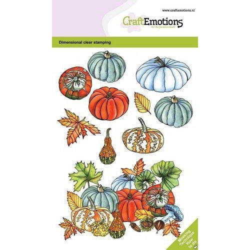 CraftEmotions CRE0375 - CraftEmotions clearstamps A6 - Pompoenen en kalebassen GB Dimensional stamp