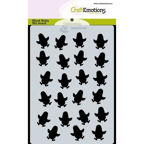 CraftEmotions 470766048 - CraftEmotions Mask stencil achtergrond penguins A6 Carla Creaties