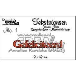 CLTS01 - Crealies tekststans - Gefeliciteerd (NL) 1 / 9 x 59 mm