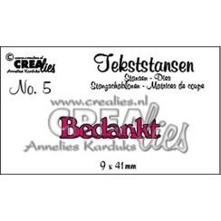 CLTS05 - Crealies tekststans - Bedankt (NL) 5 / 9x41 mm