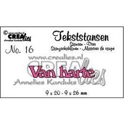 CLTS16 - Crealies tekststans - Van Harte (NL) 6  9x20 mm - 9x26 mm