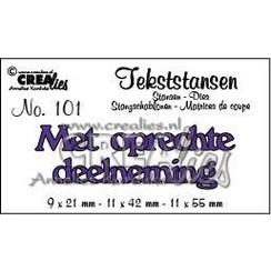 CLTS101 - Crealies tekststans - Met oprechte deelneming (NL) 01  91x21-11x42-11x55 mm