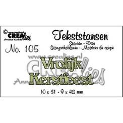 CLTS105 - Crealies Tekststans no. 105 Vrolijk Kerstfeest (NL) 10x31mm-9x48mm / 05