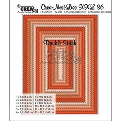 XXL36 - Crealies Double Stitch Rectangle max. 12 x 16 cm / CLNest