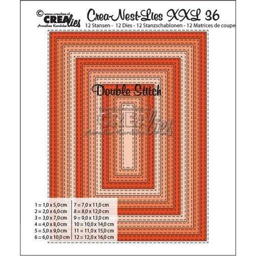 Crealies XXL36 - Crealies Double Stitch Rectangle max. 12 x 16 cm / CLNest