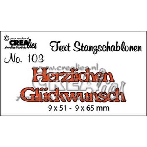 Crealies CLTSS103 - Crealies Tekststans (DE) Herzlichen Glückwunsch 9x51-9x65mm  / 103