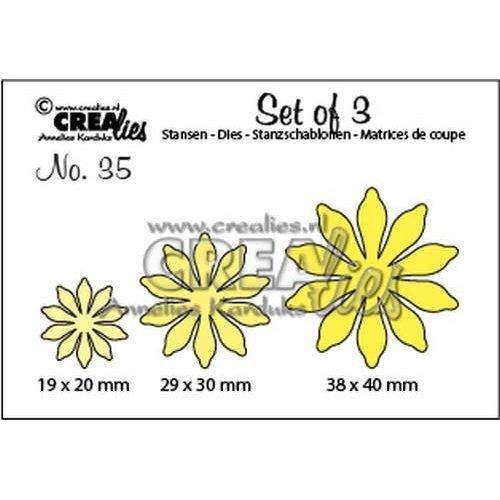 Crealies CLSET35 - Crealies Set of 3 no. 35 Bloemen 17 38x40 - 29x30 - 19x20mm / 35
