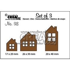CLSET38 - Crealies Set of 3 no. 38 Huisjes 17x20-26x30-20x40mm / 38