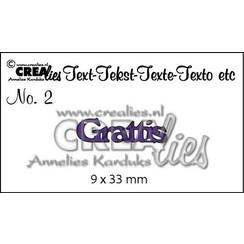 CLSE01 - Crealies Tekststans (SW) nr 01  Grattis 9x22-9x15mm  / 1