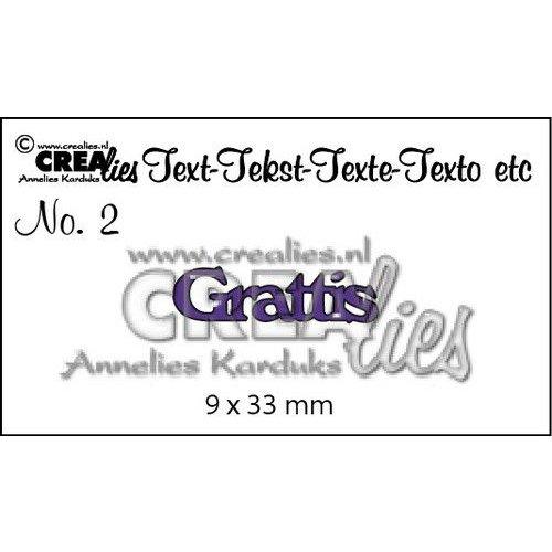 Crealies CLSE01 - Crealies Tekststans (SW) nr 01  Grattis 9x22-9x15mm  / 1
