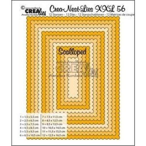 Crealies CLNESTXXL56 - Crealies Crea-nest-dies XXL no. 56  scalloped rectangles max. 12,5x16,5 cm / XXL56