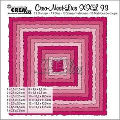 CLNestXXL93 - Crealies Crea-Nest-Lies XXL no 93 Vierkanten met ruwe randen tXXL93 135 x 135mm