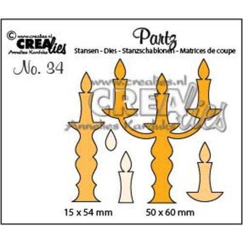Crealies CLPartz34 - Crealies Partz no. 34 Kandelaars tz34 50 x 60 - 15 x 53 mm
