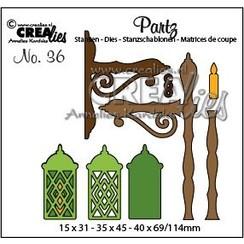 CLPartz36 - Crealies Partz no. 36 Lantaarn klein tz36 15 x 31 - 35 x 45 - 40 x 69mm