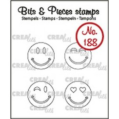 CLBP188 - Crealies Clearstamp Bits & Pieces Happy faces outline 88 4x15mm