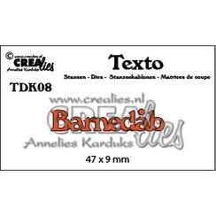 TDK08 - Crealies Texto  Barnedåb (DK)  47 x 9 mm