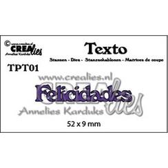 TPT01 - Crealies Texto  Felicidades (PT)  52 x 9 mm