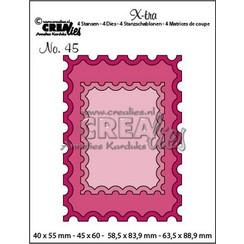 CLXtra45 - Crealies Xtra ATC postzegel + kleine postzegel a45 40x55mm - 63,5x88,9mm