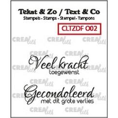 CLTZDFO02 - Crealies Clearstamp Tekst & Zo Duo Font Overlijden 02 (NL) FO02 34x12mm - 40x11mm