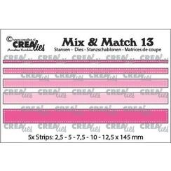 CLMix13 - Crealies Mix & Match strips met dots (5x) 13 max. 12,5x145 mm