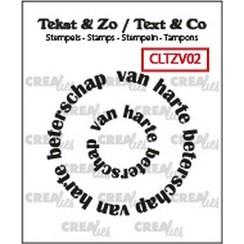 CLTZV02 - Crealies Clearstamp Tekst & Zo Rond: van harte beterschap (NL) 02 20+41 mm