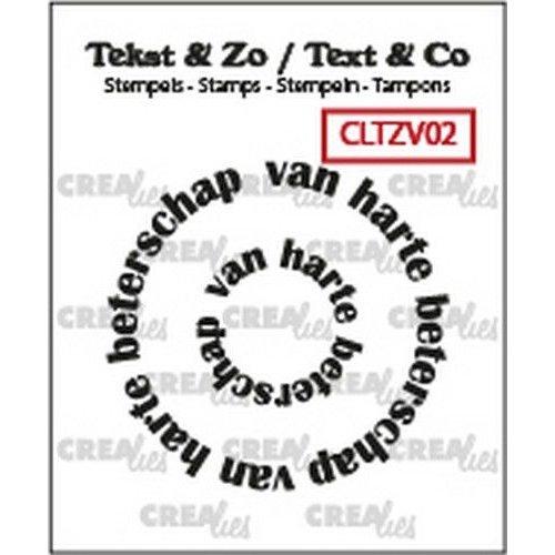 Crealies CLTZV02 - Crealies Clearstamp Tekst & Zo Rond: van harte beterschap (NL) 02 20+41 mm