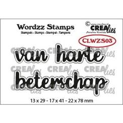 CLWZS03 - Crealies Clearstamp Wordzz van Harte beterschap (NL) CLWZS03 22x78mm