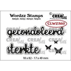 CLWZS05 - Crealies Clearstamp Wordzz Gecondoleerd sterkte (NL) CLWZS05 18x82mm