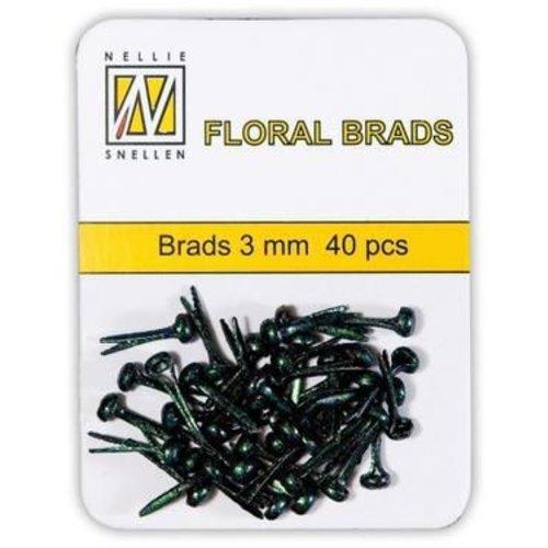 FLP-GB-001 - Floral Glitter Brads 3mm Zwart-Groene glitter