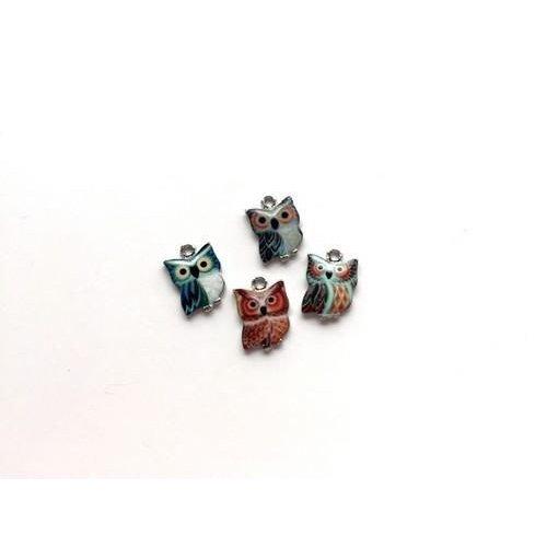 12424-2403 - Metalen Bedels Mini Uilen 4 ST -2403 10x15mm