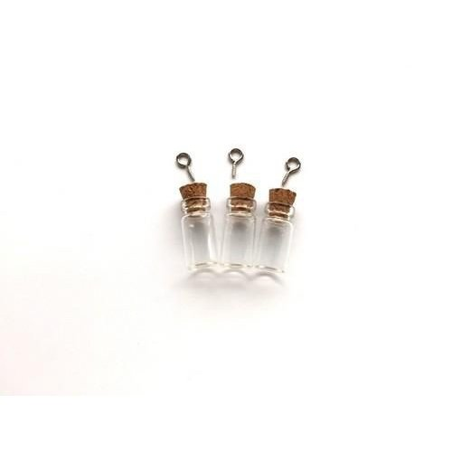 12423-2301 - Mini glazen flesjes met kurk & schroef 3 ST -2301 11x12mm