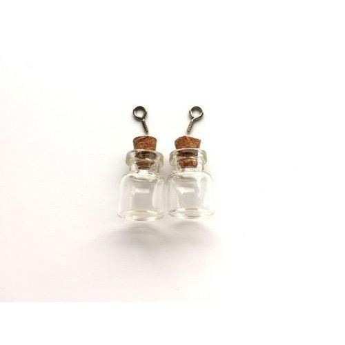 12423-2302 - Mini glazen flesjes met kurk & schroef 2 ST -2302 15x22mm