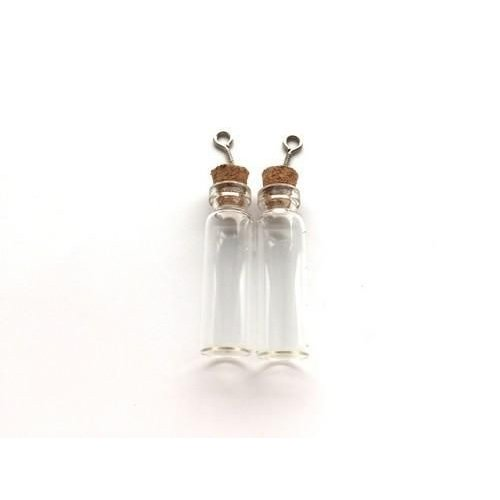12423-2304 - Mini glazen flesjes met kurk & schroef 2 ST -2304 12x40mm