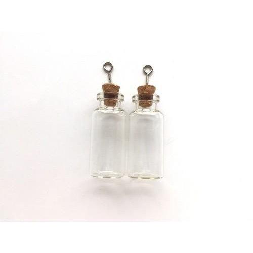 12423-2305 - Mini glazen flesjes met kurk & schroef 2 ST -2305 18x40mm