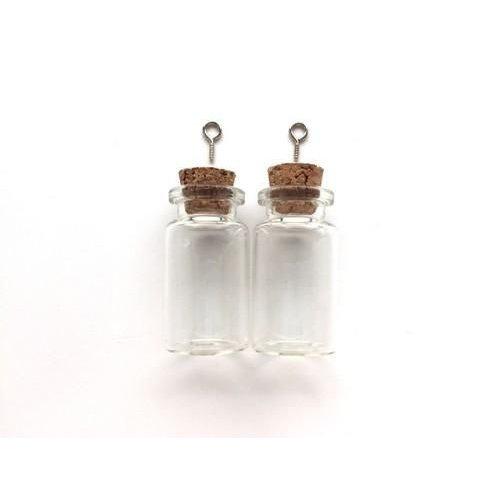 12423-2307 - Mini glazen flesjes met kurk & schroef 2 ST -2307 22x40mm