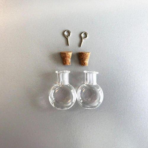 12423-2313 - Mini glazen flesjes met kurk & schroef 2 ST -2313 19.2x10x24mm