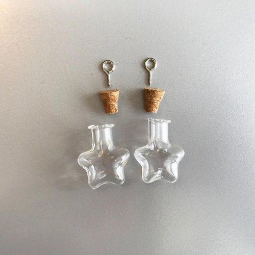12423-2315 - Mini glazen flesjes met kurk & schroef ster 2 ST -2315 21x11x23.3mm