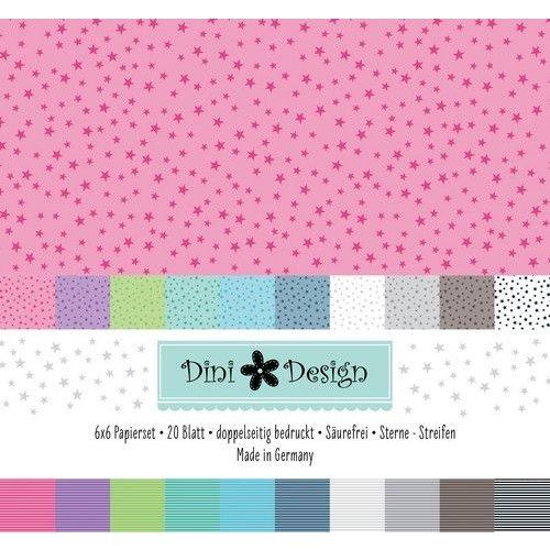 Dini Design #4007 - Dini Design 6x6 Paper Pack 20 vl - Streep - Ster 15x15 cm