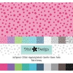 #4008 - Dini Design 6x6 Paper Pack 20 vl - Stippen - Bloemen 15x15 cm