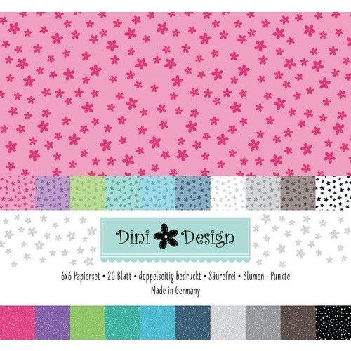 Dini Design #4008 - Dini Design 6x6 Paper Pack 20 vl - Stippen - Bloemen 15x15 cm